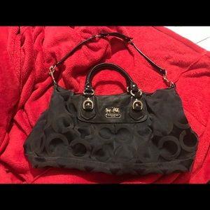 Large black canvas Coach bag